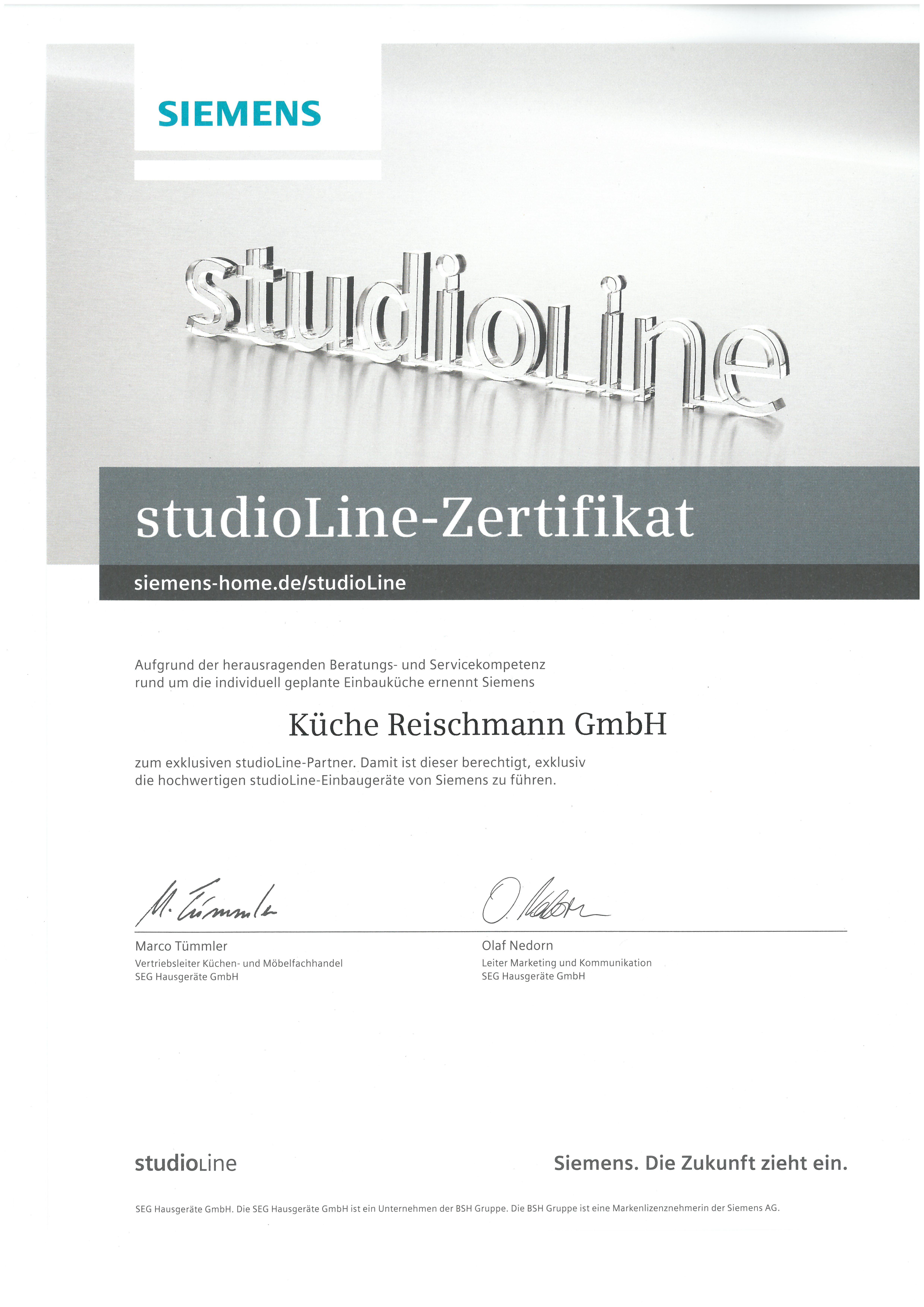 Studio Line Zertifikat Von Siemens Haus Der Kuche